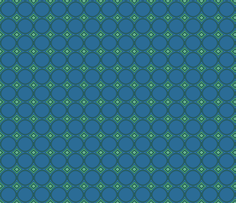Retro Blue Circles and Green Diamonds © Gingezel™ 2010 fabric by gingezel on Spoonflower - custom fabric