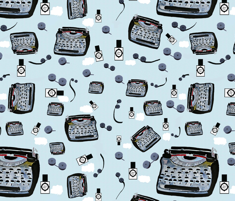 A Clunky Old Typewriter fabric by karenharveycox on Spoonflower - custom fabric