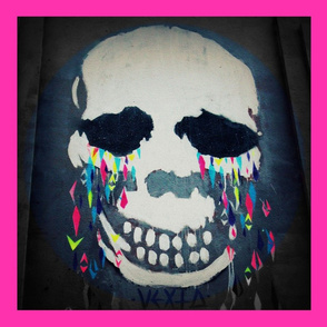 Skull with Neon Tears