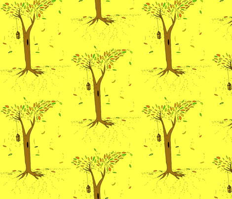 The woods at night fabric by laura_the_drawer on Spoonflower - custom fabric