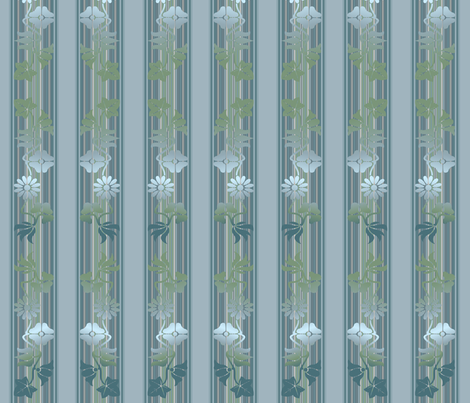 Blue Green Floral Stripe © Gingezel 2012 fabric by gingezel on Spoonflower - custom fabric