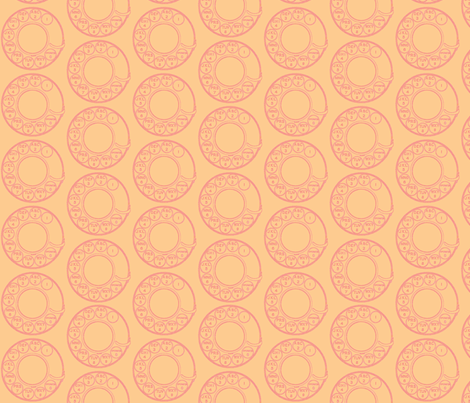 Classic Rotary Dial in pink and peach fabric by dollyw on Spoonflower - custom fabric