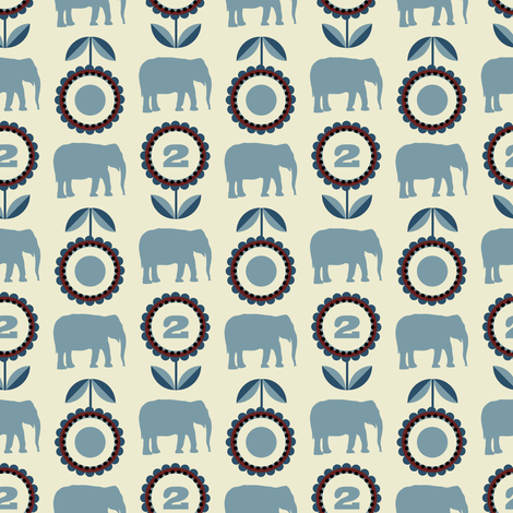 elflo_bluebeige fabric by lilliblomma on Spoonflower - custom fabric