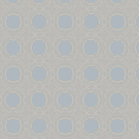 Beige with Blue Medallions © Gingezel 2012 fabric by gingezel on Spoonflower - custom fabric