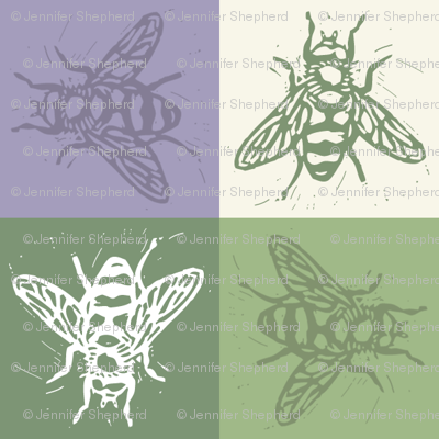 Busy Bee Gingham - Lavender and Sage - Green Bees