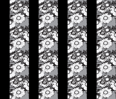 Daisy Stripes greyscale fabric by nalo_hopkinson on Spoonflower - custom fabric