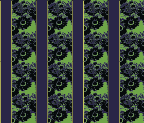 Daisy stripes, night vision fabric by nalo_hopkinson on Spoonflower - custom fabric