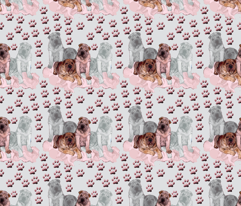 Chinese Shar Pei group fabric by dogdaze_ on Spoonflower - custom fabric