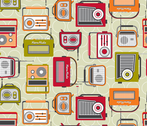 Retro  radio  fabric by cjldesigns on Spoonflower - custom fabric