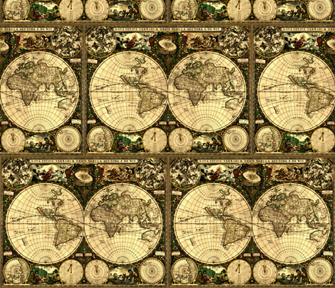 Old World Map fabric by whimzwhirled on Spoonflower - custom fabric