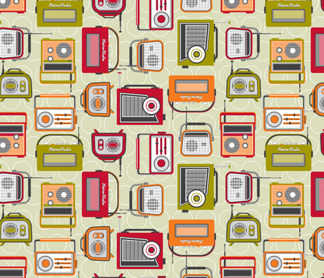 Retro radio reduced 70% fabric by cjldesigns on Spoonflower - custom fabric