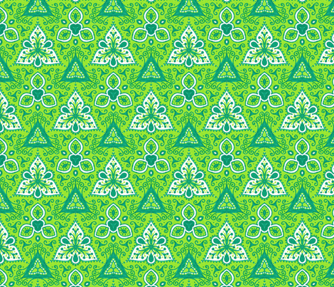 Green Threes fabric by siya on Spoonflower - custom fabric