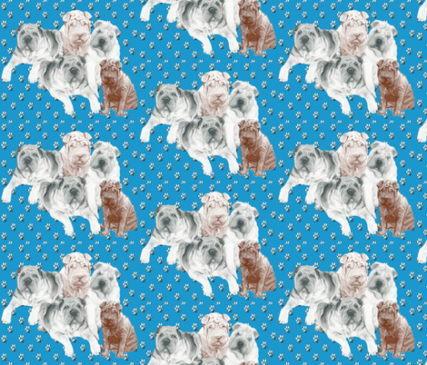 Shar Pei family Group fabric by dogdaze_ on Spoonflower - custom fabric
