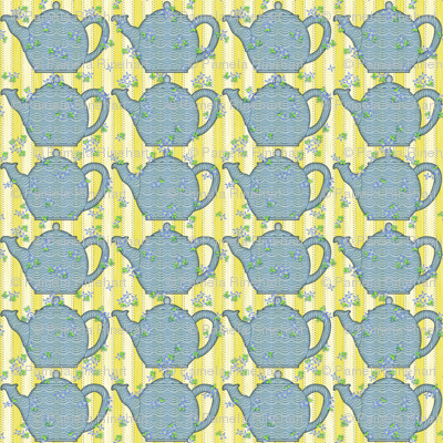 A Teapot Party - Blue and Yellow