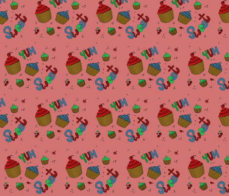 Sweet Graffiti Cupcakes Yum! fabric by scoutmom131 on Spoonflower - custom fabric