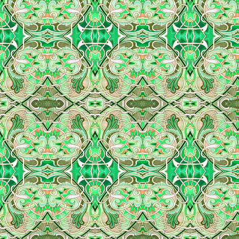 Interlocking Nouveau Greens fabric by edsel2084 on Spoonflower - custom fabric