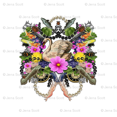 Swan with Flowers, Fish, Pearls, Fruits and Veggies