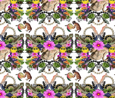Floral Swan with Fish and Monkey fabric by supermoxie on Spoonflower - custom fabric