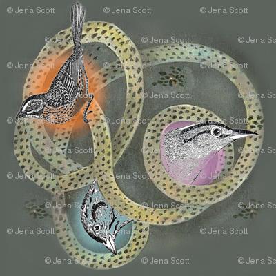Bird Trio on Green Background