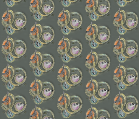 Bird Trio on Green Background fabric by supermoxie on Spoonflower - custom fabric