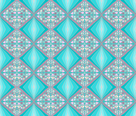 Turquoise diamonds fabric by su_g on Spoonflower - custom fabric