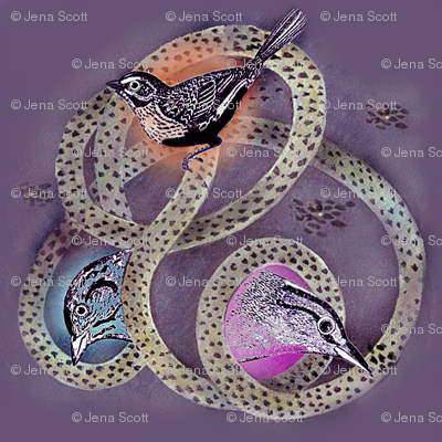 Bird Trio on Purple Background