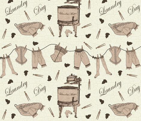 Vintage Laundry Day fabric by jabiroo on Spoonflower - custom fabric