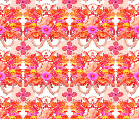 Floral Swan with Flowers and Fish fabric by supermoxie on Spoonflower - custom fabric