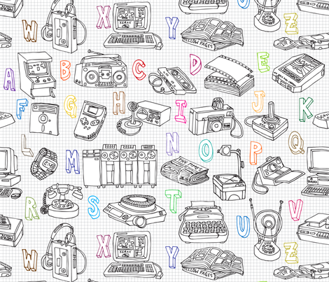 Old Skool Alphabet fabric by sammyk on Spoonflower - custom fabric
