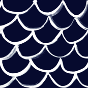 Fish  Scale White on Navy