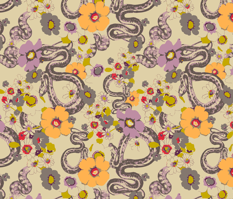 GARDEN SNAKE_orchid fabric by pattern_state on Spoonflower - custom fabric