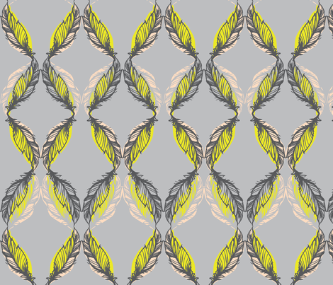 FEATHER SKETCH-CITRON fabric by pattern_state on Spoonflower - custom fabric