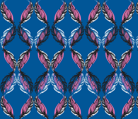FEATHER SKETCH-COBALT fabric by pattern_state on Spoonflower - custom fabric