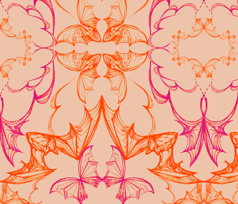 BATS_Tangelo fabric by pattern_state on Spoonflower - custom fabric