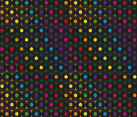 disco records fabric by kociara on Spoonflower - custom fabric