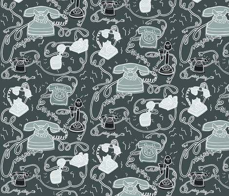 Retro Rotary Telephones Grey fabric by jenniferdenty on Spoonflower - custom fabric