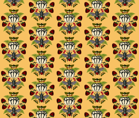 White Tulip Yellow with Strawberries and Butterflies fabric by supermoxie on Spoonflower - custom fabric