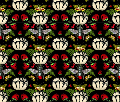 White Tulip Black with Strawberries and Butterflies fabric by supermoxie on Spoonflower - custom fabric