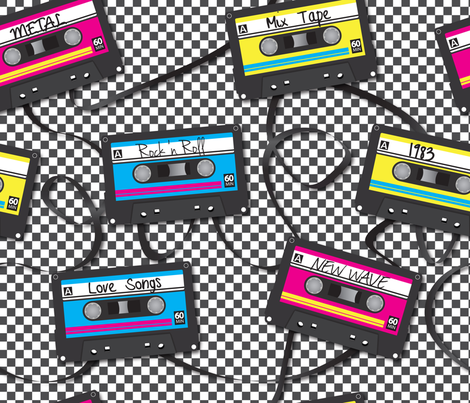 Mix Tapes fabric by illustrative_images on Spoonflower - custom fabric