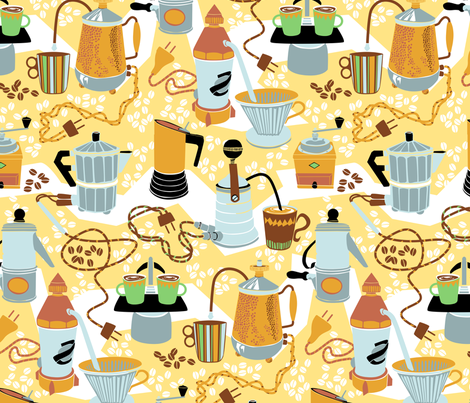 Crazy_Coffee_Pots fabric by niceandfancy on Spoonflower - custom fabric