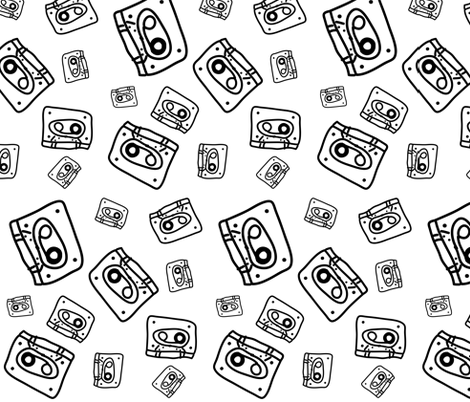 cassette tapes fabric by pernille_voss on Spoonflower - custom fabric