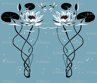 Water lily  -art deco style