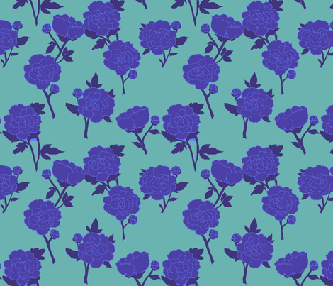 blue peony fabric by lfntextiles on Spoonflower - custom fabric