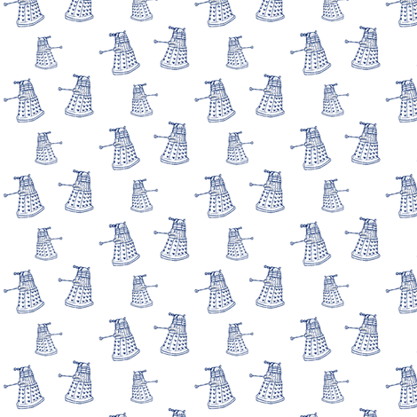 Doctor Who Inspired Blue DALEKs on White fabric by bohobear on Spoonflower - custom fabric