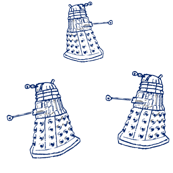 Doctor Who Inspired Blue DALEKs on White