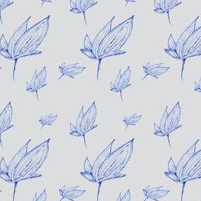 Autumn's blue flower (gray background)