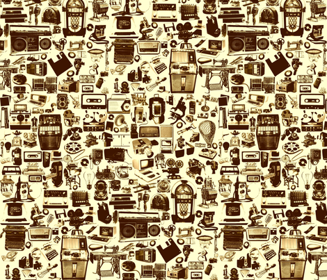 vintage technology fabric by i_c_u on Spoonflower - custom fabric