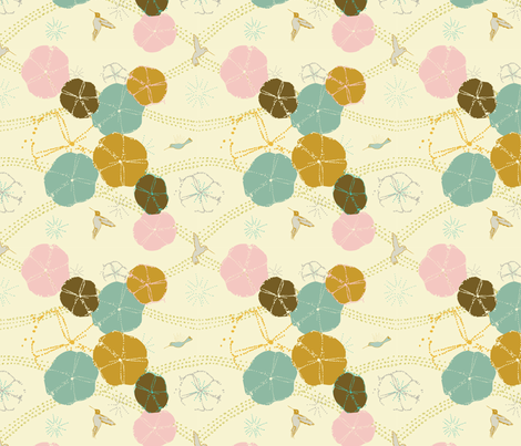 Hummingbird Glory Vintage fabric by femiford on Spoonflower - custom fabric