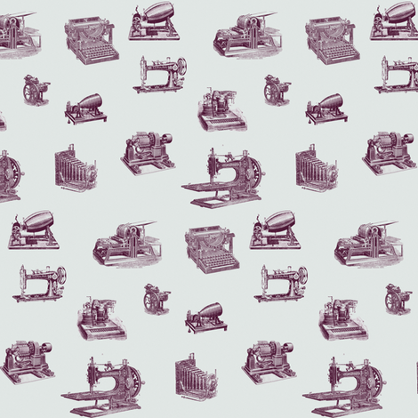 vintage technology purple fabric by ravynka on Spoonflower - custom fabric