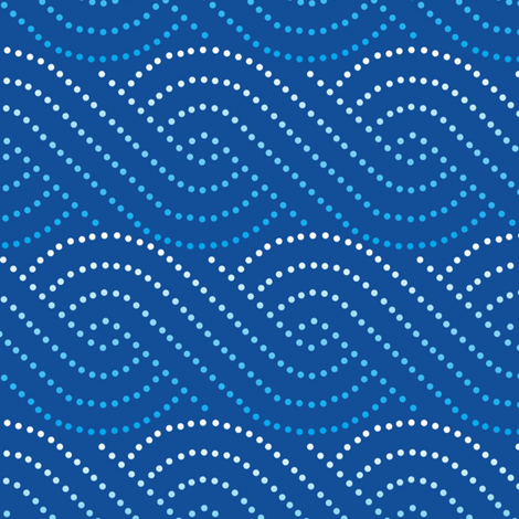 Wave swirls - dark blue fabric by shelleymade on Spoonflower - custom fabric